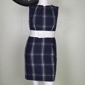 Madison blue windowpane  plaid dress size 12